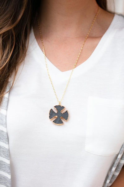 Accessories It's Not Too Late Grey Druzy Necklace - Lotus Boutique