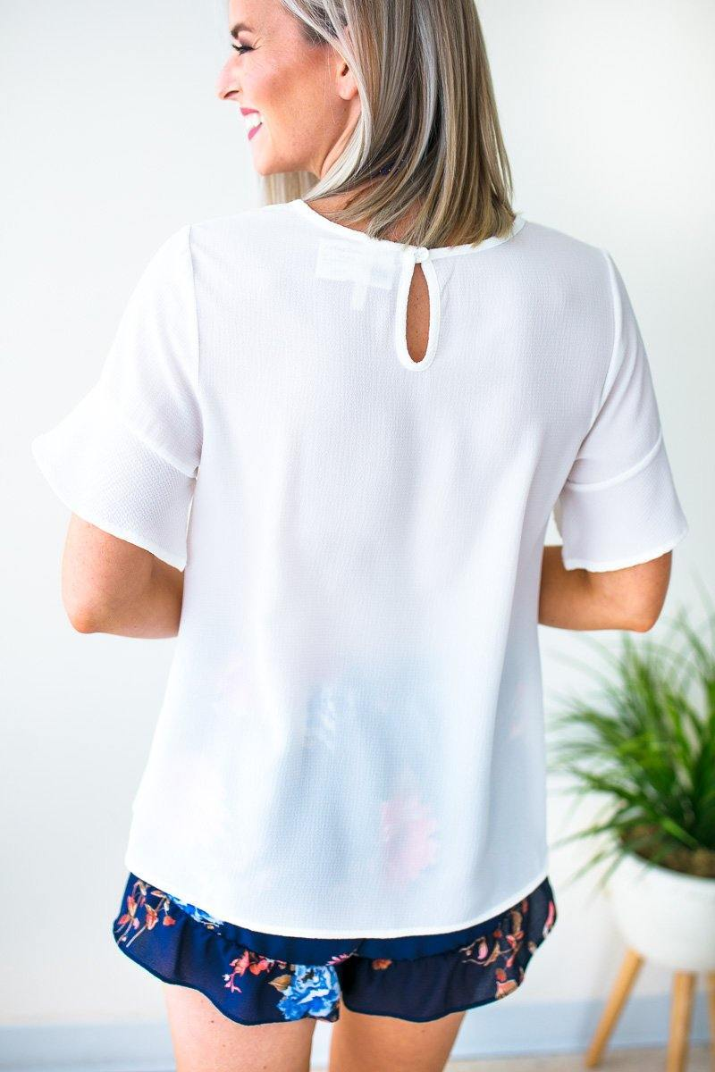 Tops Watching the Clock Flutter Sleeve Top - Off White - Lotus Boutique