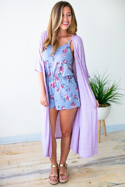 Tops Same City Light Weight Lavender Duster Kimono - Lotus Boutique
