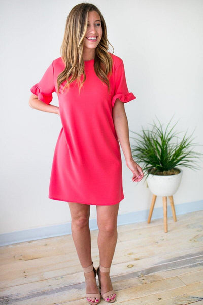 Dresses This One's for You Ruffle Sleeve Dress in Watermelon - Lotus Boutique