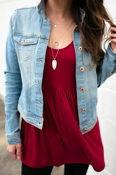 Tops Get Busy Light Wash Denim Jacket - Lotus Boutique