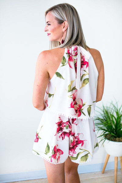 Playsuits Good As Gone Blush High Neck Floral Romper - Lotus Boutique