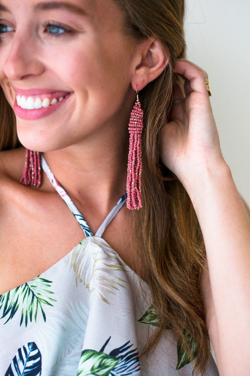 No Excuses Mauve Beaded Tassel Earrings