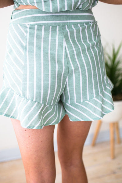 Bottoms Palm Springs Stripes Ruffle Shorts - Lotus Boutique