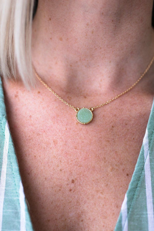 Short Sage Druzy Necklace