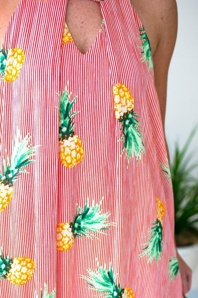 Pineapple Print Red Sleeveless Dress