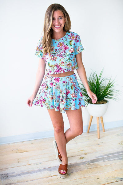 Pleated Blue Floral Shorts
