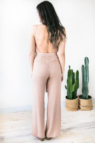 This Is It Open Back Jumpsuit - Camel
