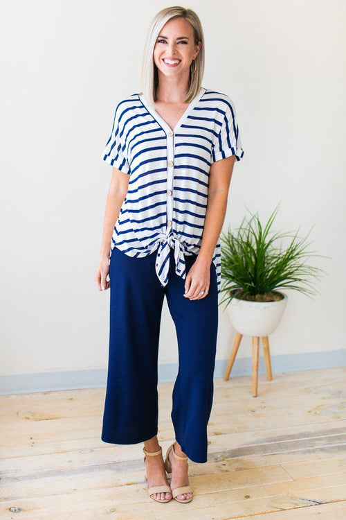 Navy Wide Leg Cropped Pants