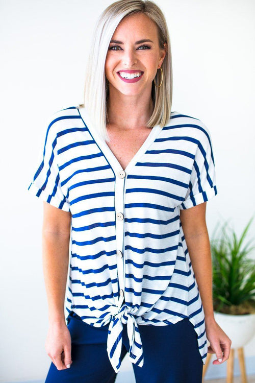 Navy Stripe Tie Front Top