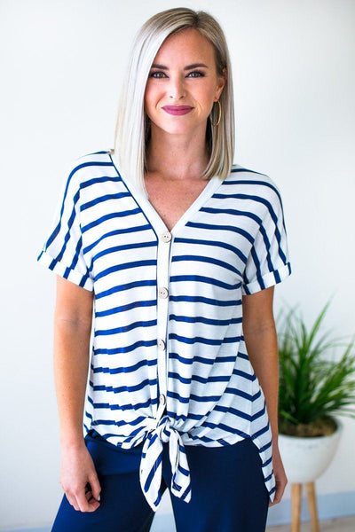 Tops World is Your Oyster Tie Front Stripe Top - Lotus Boutique