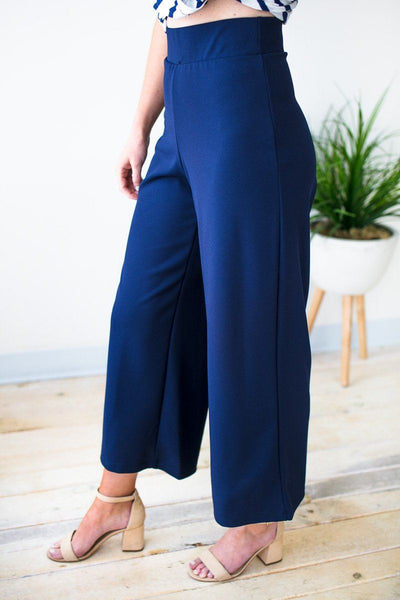 Navy High Waist Wide Leg Cropped Pants