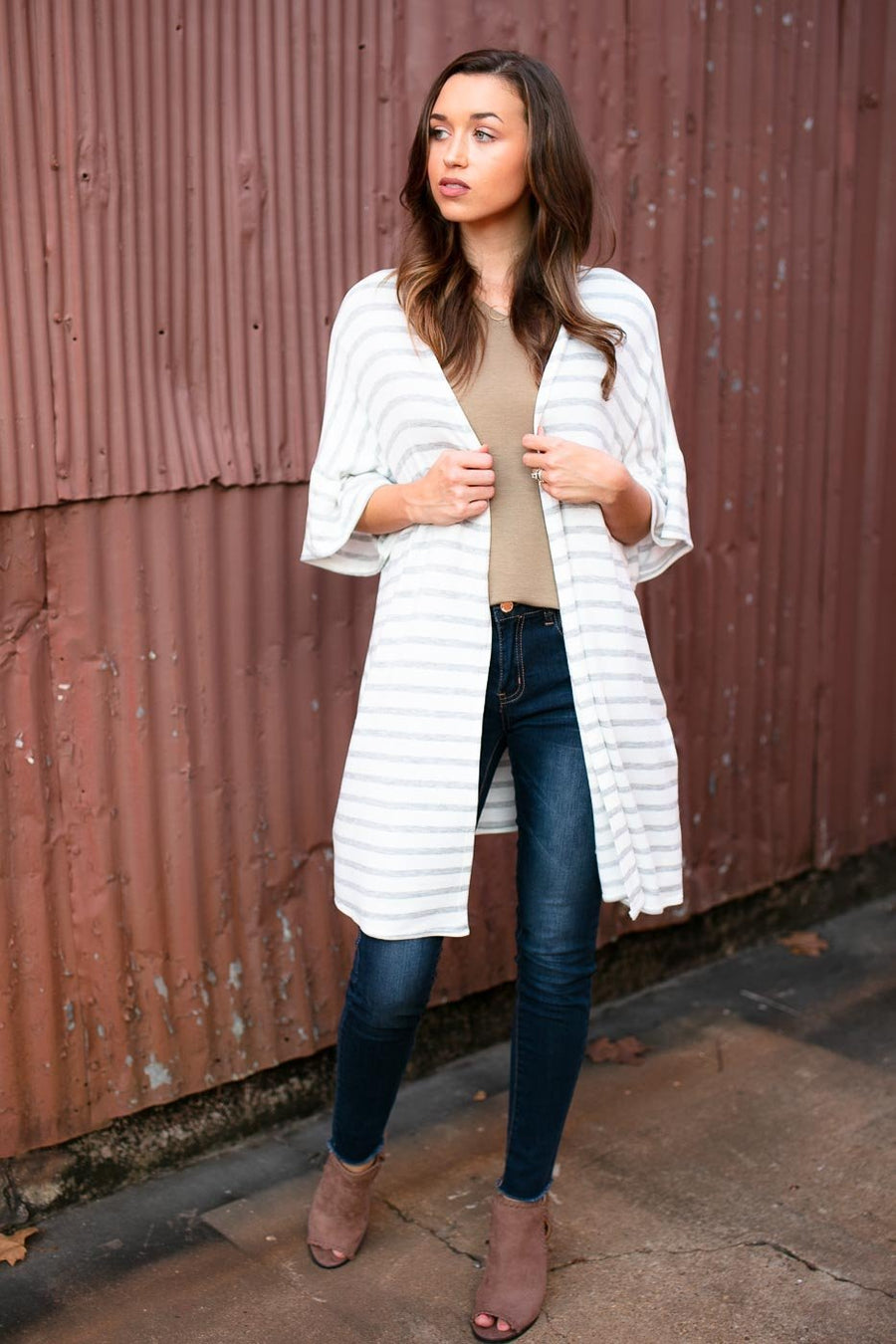 Tops Rockin the Stripes Flowy Cardigan in Ivory - Lotus Boutique