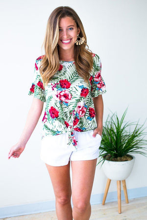 Tie Front Tropical Print Top