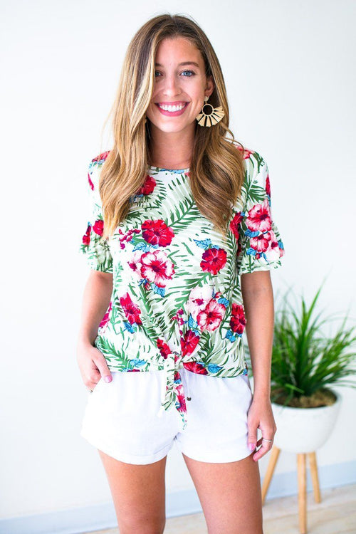 Tropical Print Tie Front Top