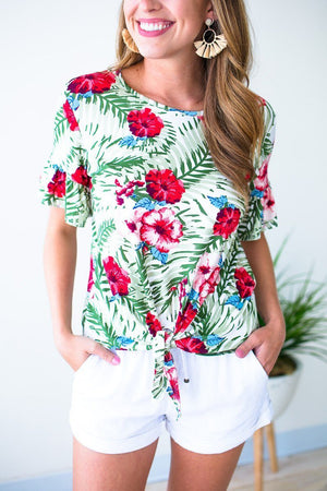 Hibiscus & Palm Print Top