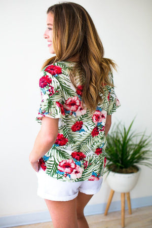 Short Sleeve Palm Print Tie Front Top
