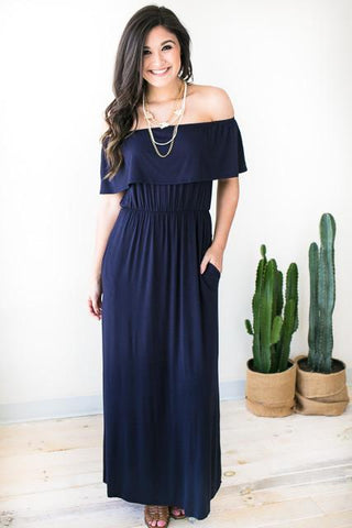 For Her Off Shoulder Maxi Dress - Navy