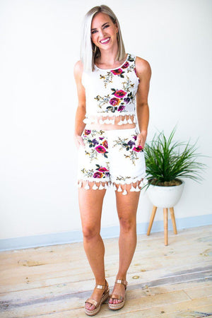 Super Bloom Ball Fringe Floral Crop Top