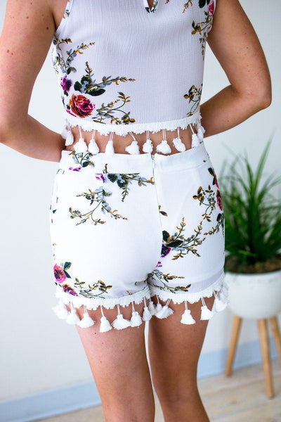 Bottoms Super Bloom Shorts W/ Ball Fringe and Pockets - Lotus Boutique