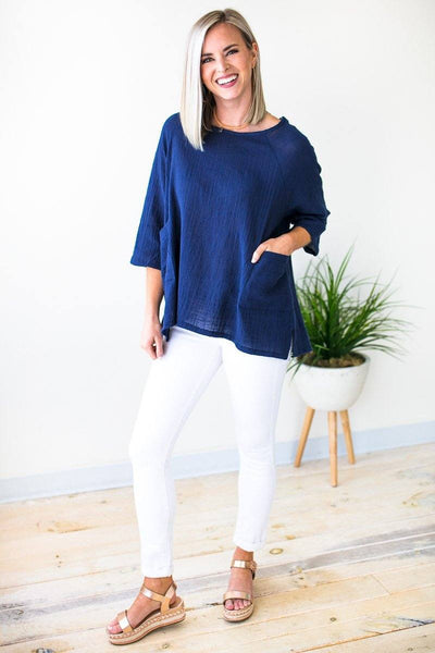 Linen Dolman Sleeve Top With Pockets