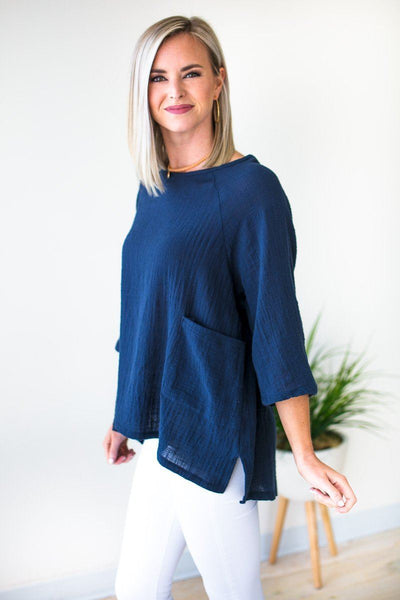 Dolman Sleeve Navy Linen Top