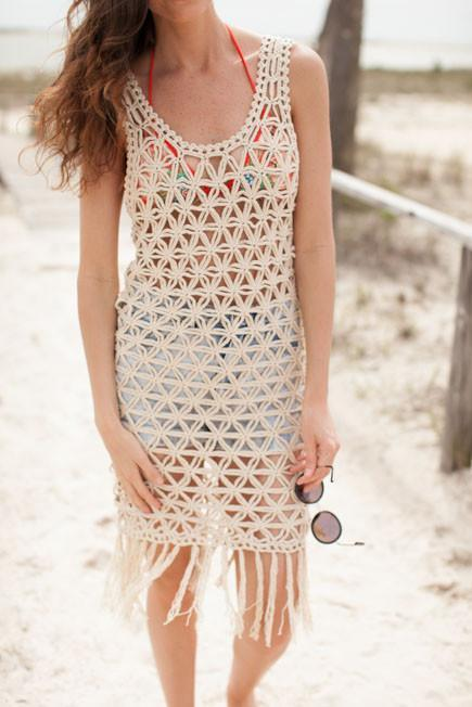 Festival Fashion Beige Sleeveless Crochet Maxi - Lotus Boutique
