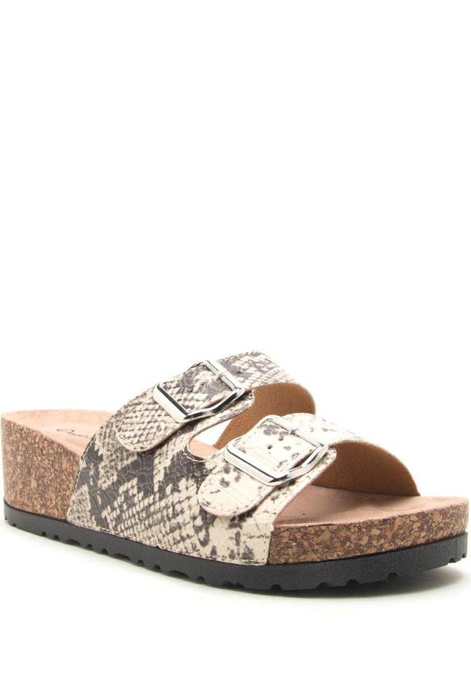 Double Buckle Wedge Sandal in Snake