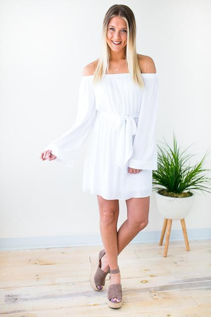 White Dress With Long Bell Sleeves