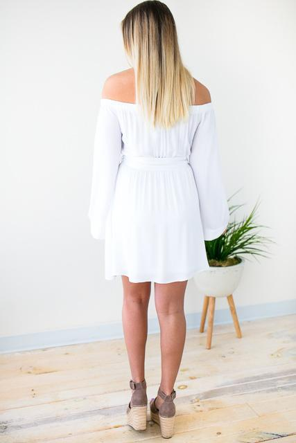 Dresses Focus on the Future Off Shoulder White Dress - Lotus Boutique