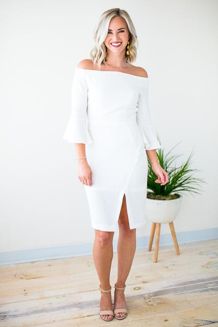Off Shoulder White Dress W Bell Sleeves