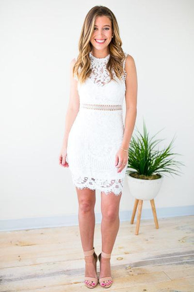 Dresses Lace to the Altar White Cut Out Dress - Lotus Boutique