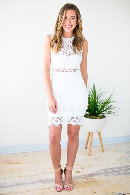White Lace Cut Out Dress
