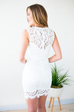 Cut Out Middle White Lace Dress