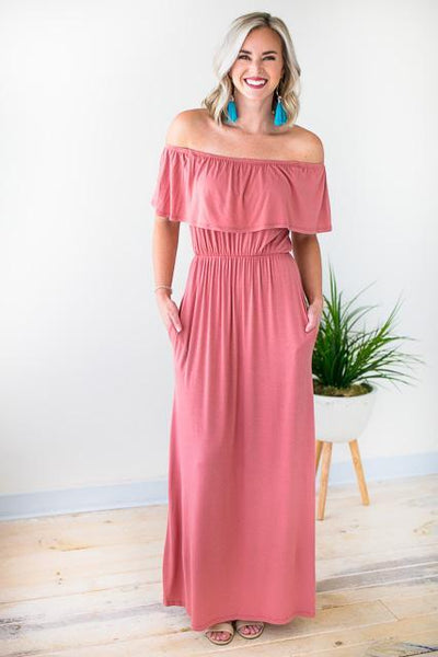 Brick Color Maxi Dress