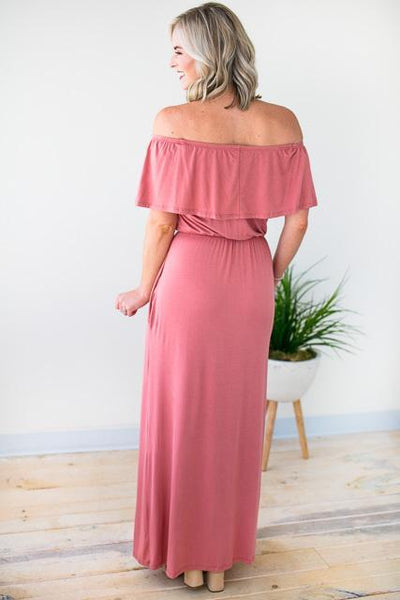 Dresses For Her Off Shoulder Maxi Dress - Brick - Lotus Boutique