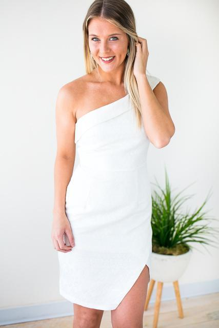 One Shoulder Ivory Dress