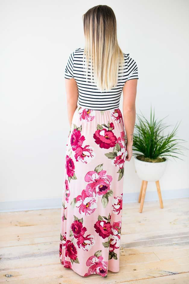 Stripe and Floral Maxi