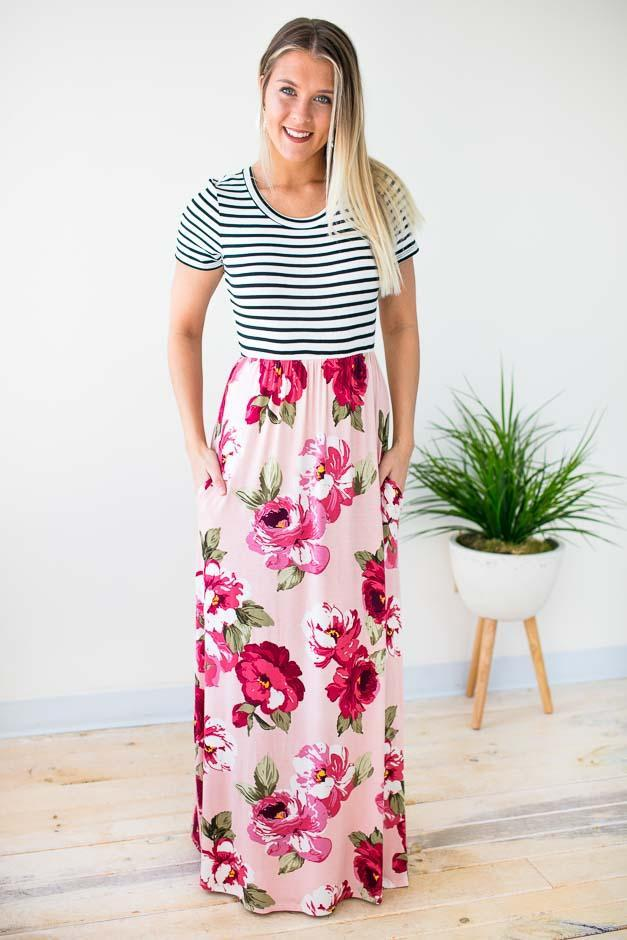 Floral Maxi Dress With Stripes