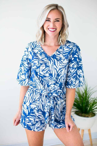 Rompers Simply Irresistible Tie Front Romper - Blue Palm - Lotus Boutique