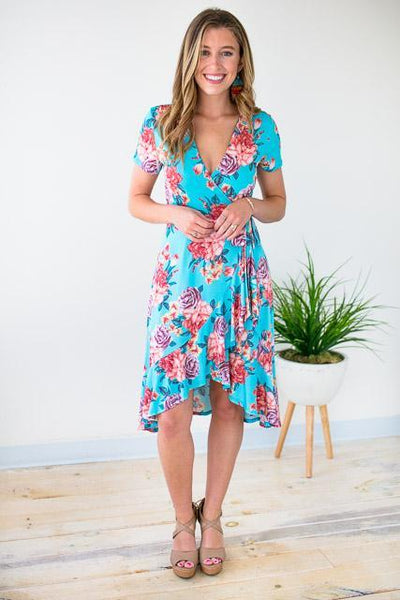 Dresses Something Better Floral Mock Wrap Dress - Lotus Boutique