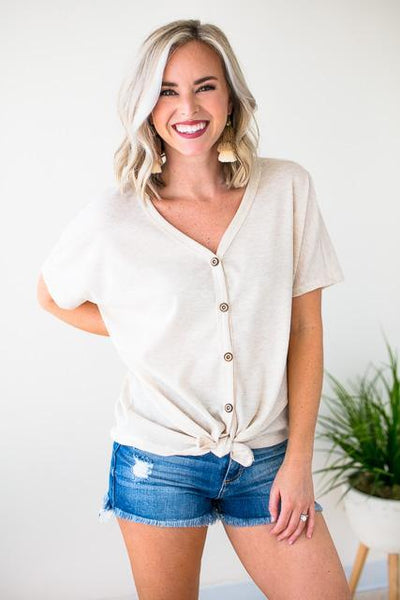 Tops Made with Love Oatmeal Tie Front Top - Lotus Boutique