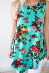 Mint Floral Sleeveless Top