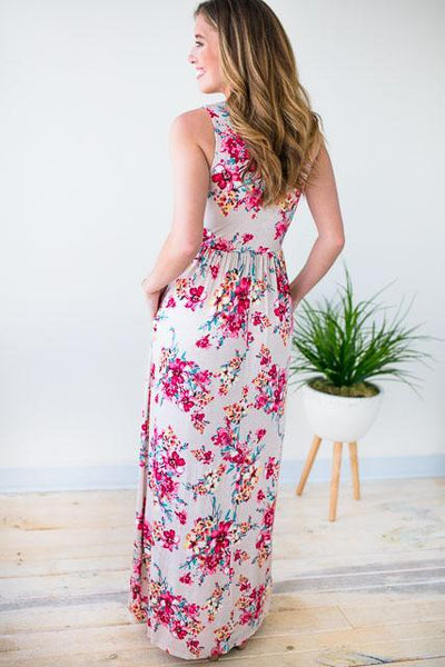 Floral Maxi Dress W Pockets