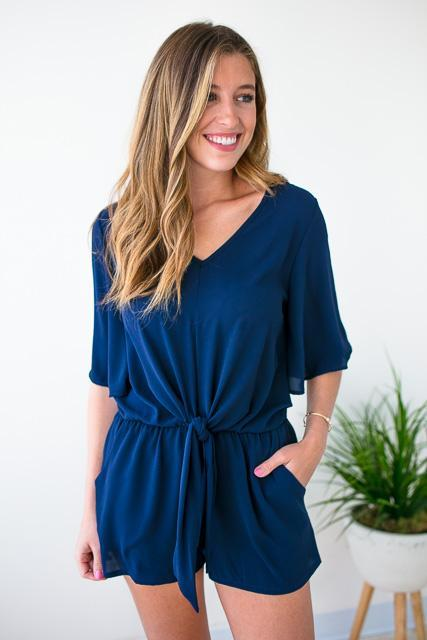 Simply Irresistible Tie Front Romper - Navy