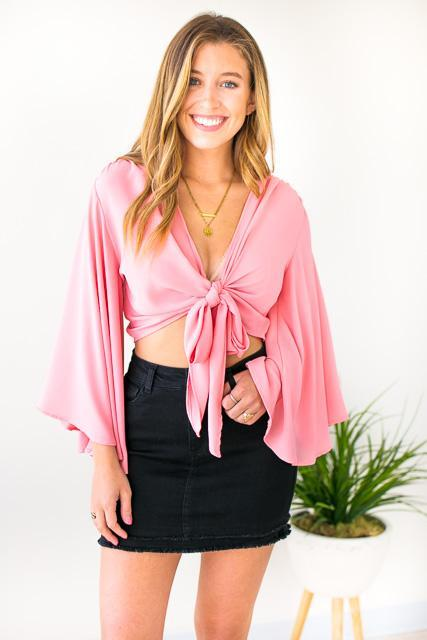 Flutter Sleeve Tie Front Top in Coral