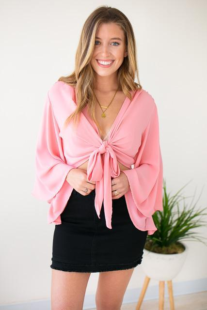 Tie Front Top Coral Flutter Sleeves