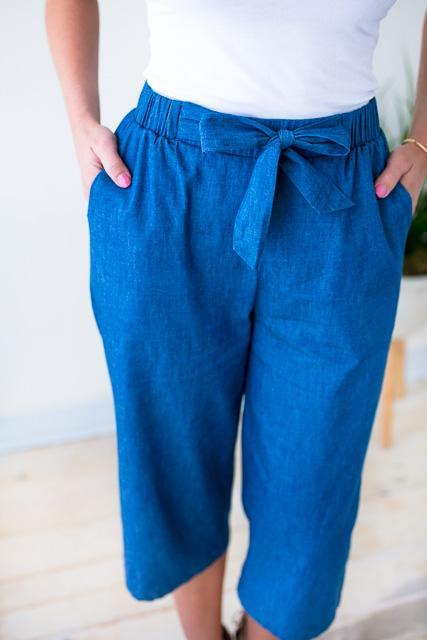 Chambray Culottes Tie Waist