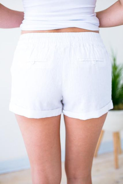 Drawstring White Linen Shorts