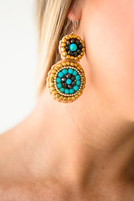 Beaded Double Circle Earrings